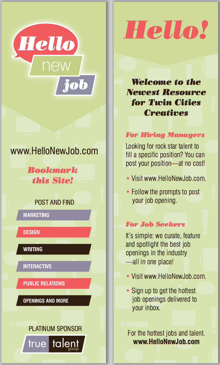 Hello New Job Bookmark
