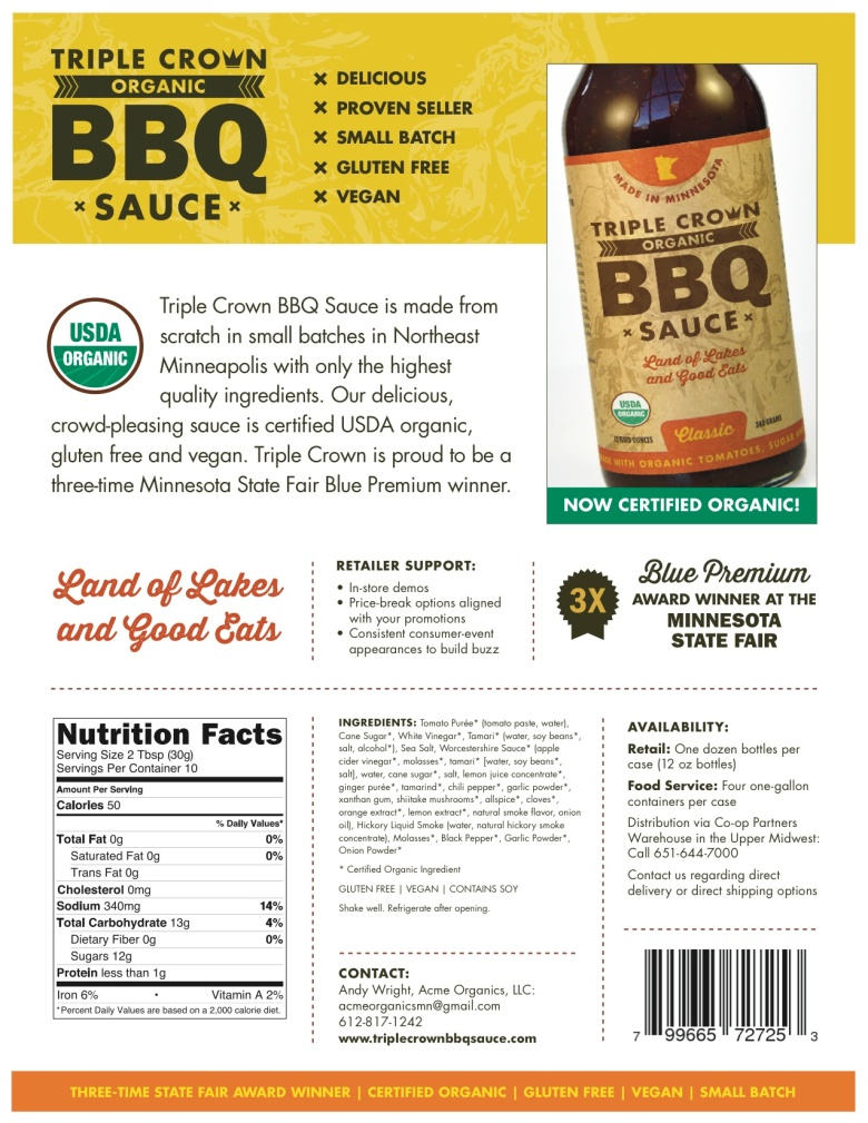 Triple Crown BBQ Sauce Sell Sheet